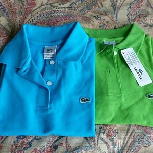 Turquoise, and lime green collar polo